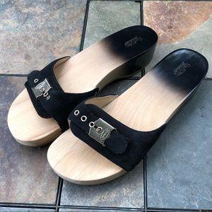 NWOT Dr Scholl's black & natural wood slide sandal